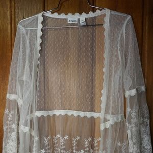 Cato Womans Lace White Fringed Trim Long Sleeves